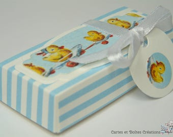 Box dragees birth - Collection ducks striped blue - free shipping