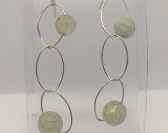 sterling silver chalcedony earrings #248
