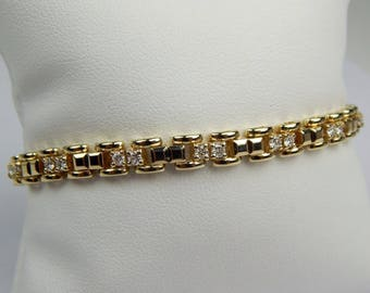 14k gold 1 Ctw diamond tennis bracelet #10620