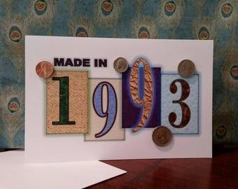 1993 Coin Greeting Card, 1993 Coin Birthday Card, Coin Card, 1993 Coin Card, 1993 Coins, Born in 1993, 1993 Gift, 1993 Birthday Card, 1993