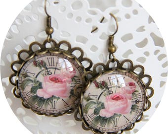 Earrings Roses Intemporelles roses and bronze clock, bronze clock, round earrings earrings pink flower
