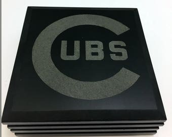 Chicago Cubs Coasters, 4 coasters with the Chicago Cubs name etched on the front, Cubs Coasters, Marble Coasters, Home Decor, Cubs Gift