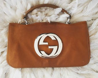 Vintage GUCCI BLONDIE 1973 Brit Huge GG Monogram Logo Hardware 1973 Clutch Purse Bag Shoulder Crossbody Messenger
