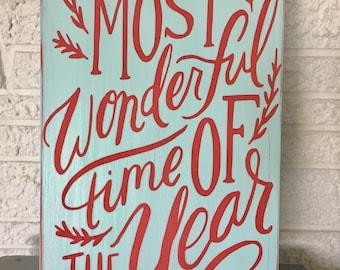 Most Wonderful Time of the Year Wall Sign, Coastal Christmas Decor, Beach Christmas Decor, Turquoise Christmas Sign, Beach Sign