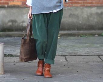 Women Green Trousers Corduroy Pants Loose Pants Elastic Waist Pants Warm Harem Pants