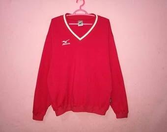 Rare!! Mizuno Small Logo Spellout Embroidery Pullover Jumper Sweatshirt
