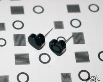 Black Heart - Earring Studs, quirky, heart, love heart, heart earrings