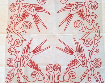 Vintage Red Work Pillow Overlay with Red Bird Pattern