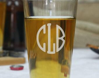 Set of 11 Monogram Pint Glass, Personalized Pint Glasses, Custom Pint Glass, gift for him, gift for her, anniversary gift