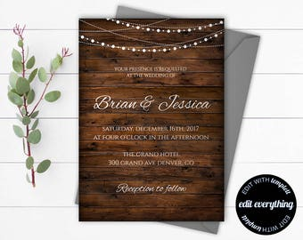 Country Wedding Invitation Template - Southern Wedding Invitations - Barn Wedding invitation - Rustic Wedding Set - Southern Invitation