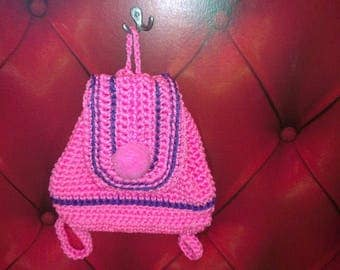 Pink knitted backpack, crochet bag, rope bag, market bag, crhochet bag,backpack,cord backpack, Handmade bag, Wedding gift idea
