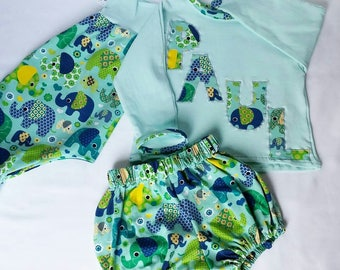 All three pieces harem pants, shirt and baby bloomers.