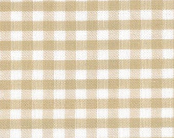 "Khaki Gingham Fabric – 1/8″ Check Fabric from Fabric Finders,  100% Cotton Fabric, 60"" Width, Quilting, Apparel, Sewing"