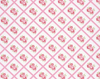 END OF BOLT - 3 Yards - Pink Libby Fabric, Lulu Roses Collection from Tanya Whelan - Shabby Chic Fabric - 100 % cotton , Quilting