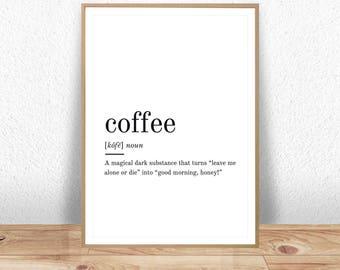 Coffee Definition Printable Wall Art Coffee Print Coffee Poster Funny Coffee Quote Coffee Printable Coffee Lover Gift Coffee Wall Art JPG
