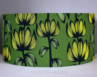 Scandinavian fabric lampshade up to 45cm sizes handmade by vivid shades, floral flowers green yellow funky colourful drum ceiling