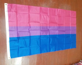 Bi-sexual LGBTQ Gay Pride Flag 3 x 5 Feet (36 x 60 inches) with Two Metal Grommets for Flagpole Hanging Pink Blue Purple