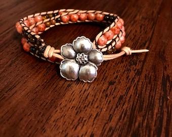 Tan Leather Double Wrap Bracelet