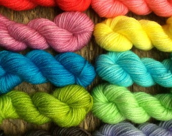Hand Dyed Sock Yarn Mini Skein Set Tonal #10 -- 10 Mini Skeins/25 Yards Each/5.5 Grams Each