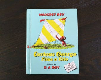 Curious George Books, Margret Rey H. A. Rey 1958 Vintage Kids Children's Book , Curious George Flies a Kite, Curious George collectors book