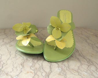 pair of Gianni Sanetti flower petal sandals, made in Italy