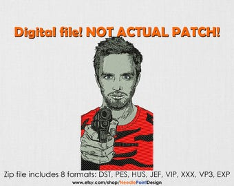 INSTANT DOWNLOAD - Jesse Pinkman machine embroidery design. Breaking Bad. Embroidery file
