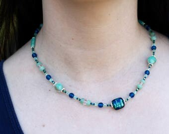 Cobalt and Sea Foam Green Beaded Necklace - FJ 86