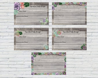 5 Printable Essential Oil Recipe Cards, Succulent Cards, Oil Recipe Card, Blank Oil Cards, Printable Essential Oil Cards, Blank Recipe Cards
