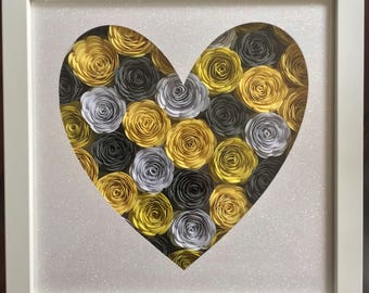 Beautiful 3D Hand Rolled Flowers in a Frame Roses Mixed Colours Wedding Mother's Day