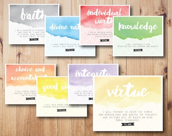 Watercolor and geometric LDS yw values digital print, LDS young women values, personal progress values, printable yw values