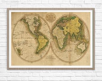 Old World Map 1795, Historic Map, Antique Restoration Hardware Style World Map, Old Fine Art Print, World Map Wall Decor