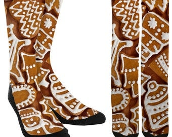 Gingerbread Cookies Crew Socks - Holiday Socks - Cookie Socks - Christmas Socks -Unique Socks - Novelty Socks -Cool Socks -FREE Shipping D72
