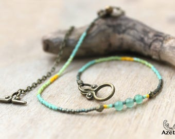 Ethnic double • • bronze and green Aventurine • sound bells anklet • sound jewelry rustic jewelry Bohemian jewelry • •
