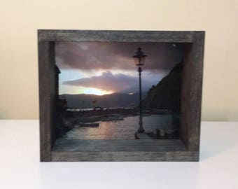 Framed picture Sunset in Vernazza, Cinque Terre, Italy; 8x10 Shadow Box Wood Frame