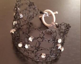 Back Wire crochet bracelet with rhinestones