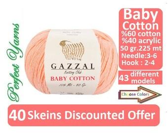 40 Skeins Discounted Offer. Gazzal baby Cotton, cotton yarn, Knitting Yarn, crochet yarn, baby yarn, gazzal, gazzal baby , baby cotton