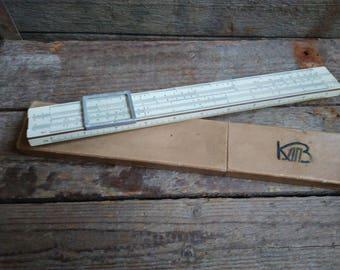 Soviet Vintage wooden ruler,Logarithmic Ruler in original box,Engineering Slide,vintage slide rule, Soviet Tools, Soviet Collectables,1959