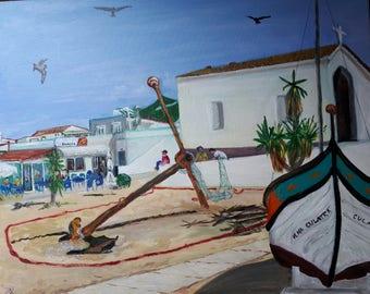 EDITION 1 PRINT Tribute to Culatra from original fine art painting of Rio Formosa barrier island Ilha da Culatra