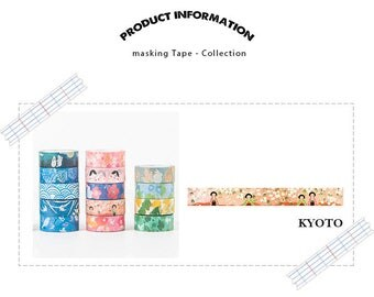 Masking Tape KYOTO/paper Tape/Deco Tape/washi tape/1 roll masking tape (washi) illustrations KYOTO, Japan, 15 mm * 7 m