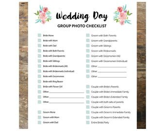 Wedding Day Group Photo Checklist, Photo Checklist, Wedding Checklist,  Photo Checklist Template,