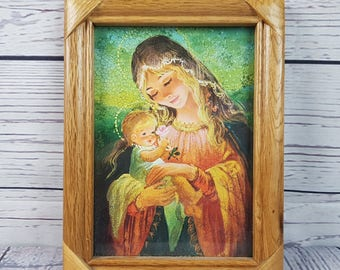 Vintage Virgin Mary & Baby Jesus Mother Child Frame w/ Glass Free Standing Wall Art Religious Gift Catholic Christian Baptism Confirmation