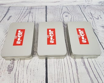 Vintage Set of 3 Levi's Silver Tone Metal Tin Boxes w/ Lids Collectible Storage Container Jeans Levis Levi Strauss