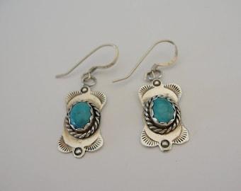 Vintage Sterling Silver South Western Turquoise Dangle Drop Earrings