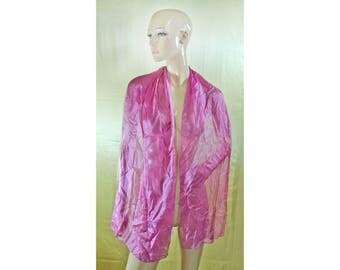Vintage LDADPR women scarf 100% SILK hand rolled pink