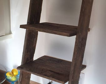 Rustic Mini Ladder Shelf: 4 shelves Dark Pallet Wood Farmhouse
