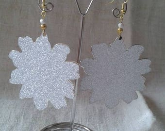 shiny Silver Flower Earrings