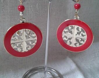 """""""big red wheel"""" earrings"""