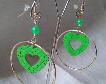 green heart hoop earrings