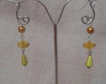 """Earrings """"set of yellow beads"""""""
