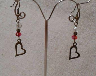 Heart Earrings in bronze and Pearl